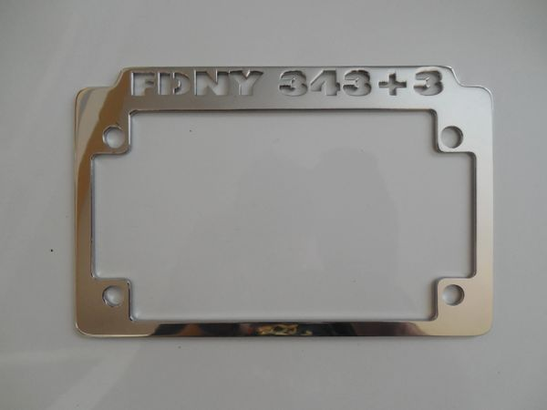 Motorcycle License Plate Frame (FDNY 343+3) | Fireman Joes