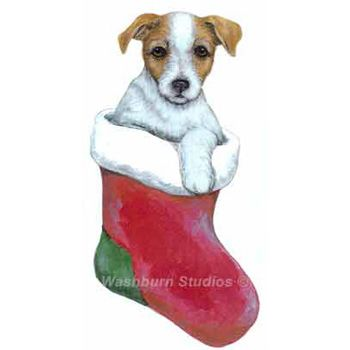 Jack Russell Terrier rough brown Puppy Christmas Ornament. - Jack Russell Terrier Rough Brown Puppy Christmas Ornament D.W.