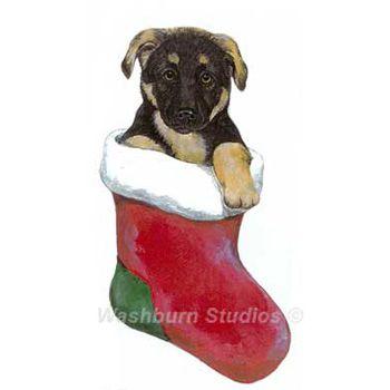 German Shepherd Puppy Christmas Ornament. - German Shepherd Puppy Christmas Ornament D.W. Possum Designs