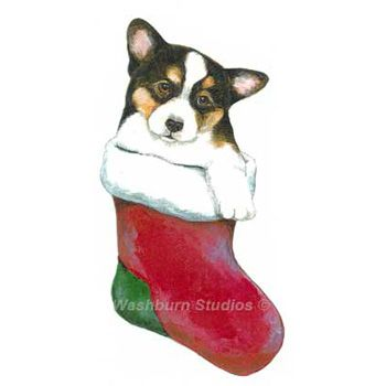 pembroke welsh corgi tri puppy christmas ornament - Corgi Christmas Ornaments