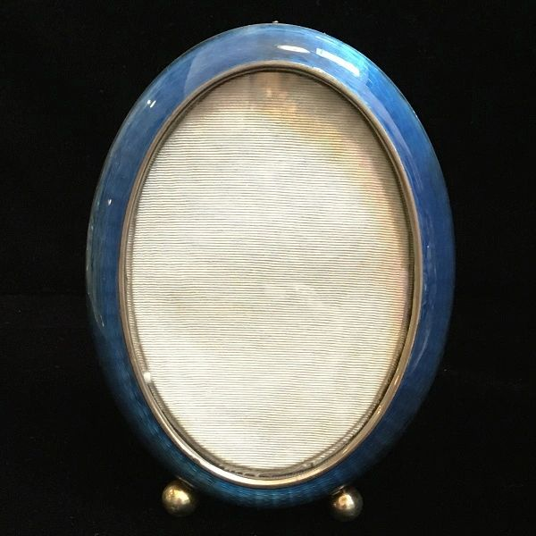 Vintage Sterling Silver Guilloche Enamel Oval Picture Frame