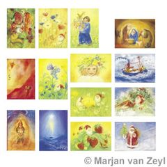 Assortment Seasons - 14 Postcards - by Marjan van Zeyl