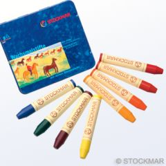 Stockmar Stick Wax Crayons - 8 colours Waldorf assortment in metal case
