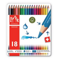 Caran d'Ache Fancolor Watercolour Pencils - 18 colours Tin