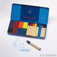 Stockmar Combined Assortment 8 Crayons + 8 Blocks in metal case