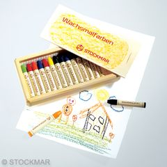Stockmar Stick Wax Crayons - 16 colours in wooden box