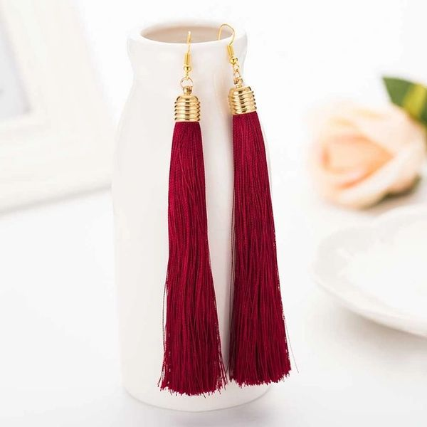dd0841a90 Long Tassel Earrings in Deep Red | A Jewel Affair