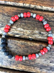 Beaded Diffuser Bracelet, Red/Silver