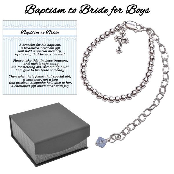 75528de6238 Baptism to Bride Bracelet for baby boy in Sterling Silver | Cherished  Moments Sterling Silver Jewelry and Amber Teething Bead
