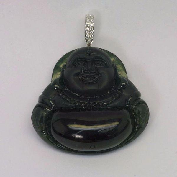 18K W/G Diamond Jade Buddha Pendant