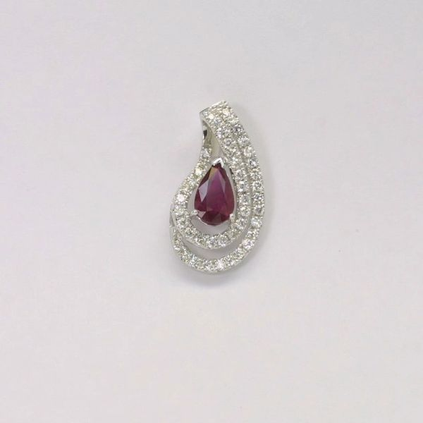 18K W/G Diamond Ruby Pendant