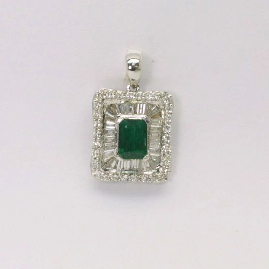 18K W/G Diamond Emerald Pendant
