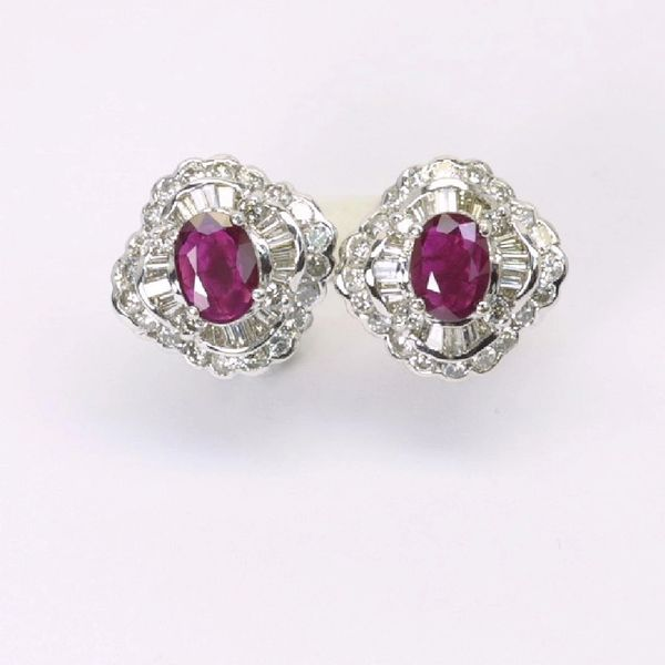 18K W/G Diamond Ruby Earrings