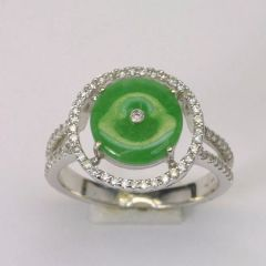 18k W/G Diamond Jade