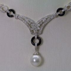 18K W/G Diamond South Sea Pearl Necklace