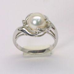 14K W/G Diamond Pearl Ring
