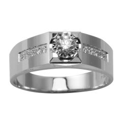 18K W/G Diamond Men Ring