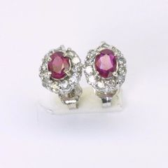 14K W/G Diamond Ruby Earrings