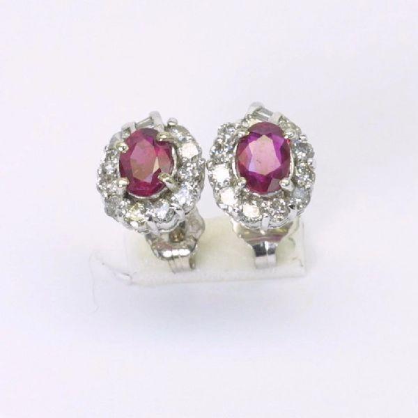 14K W/G Diamond Ruby Earrings