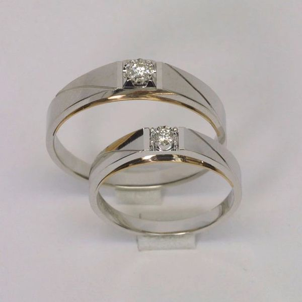 18K Two Tone Diamond Wedding Bands