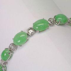 18K W/G Diamond Jade Bracelet
