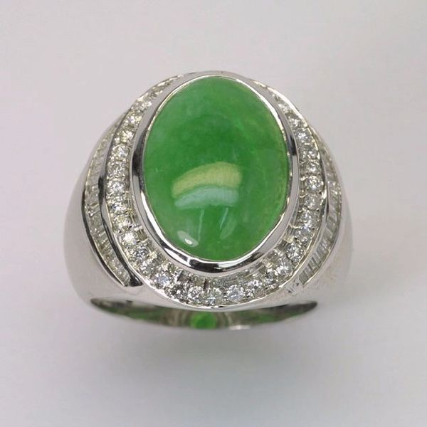 18K W/G Diamond Jade Ring