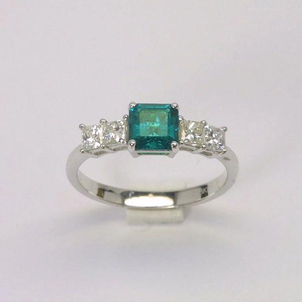 18K W/G Diamond Emerald Ring
