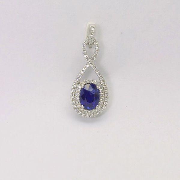 18K W/G Diamond Sapphire Pendant