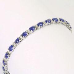 14K W/G Diamond Sapphire Bracelet