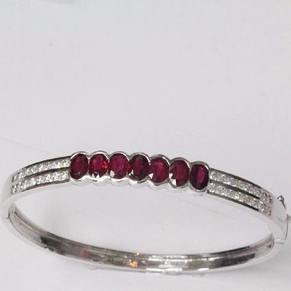 14K W/G Diamond Ruby Bangle