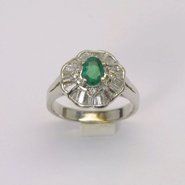 14K W/G Diamond Emerald Ring