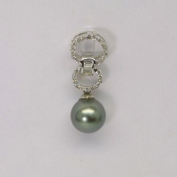 14K W/G Diamond Black Pearl Pendant