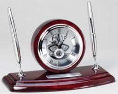 Rosewood Clock and Double Pen Set - RWS69