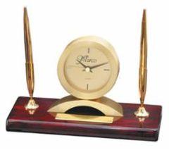 Rosewood Clock and Double Pen Set - RWS90