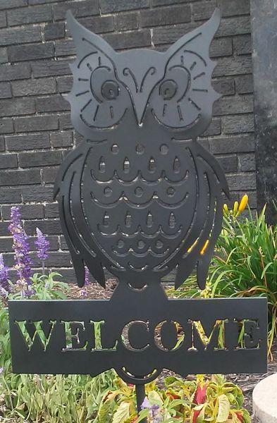 Owl Shaped Metal Welcome Sign Yard Garden Art Outdoor