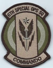 USAF PATCH 6 SPECIAL OPERATIONS SQUADRON ON VELCRO DUKE FIELD