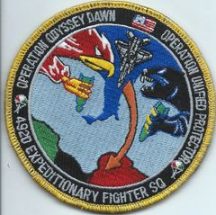 USAF PATCH 492 EXPEDITIONARY FIGHTER SQUADRON OPERATION UNIFIED PROTECTOR ON VELCRO PURCHASED FROM SQUADRON