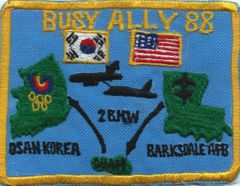 USAF PATCH 2 BOMB WING BUSY ALLY 1988 B-52 DEPLOYMENT TO OSAN STH KOREA