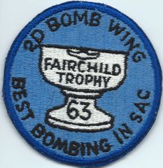USAF PATCH 2nd BOMB WING FAIRCHILD TROPHY 1963 (MH)