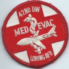USAF PATCH 42 BOMB WING MED EVAC LORING AFB ON VELCRO (MH)