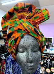 Kente 2 African Head Wrap Fabric 2 Yards