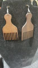 Afro Wood Pick Earrings*