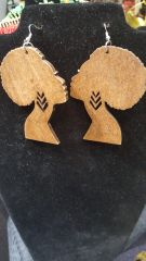 Afro Wood Earring