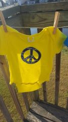 Yellow Baby Onesie with Blue Batik Peace