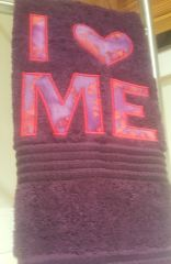 I LOVE ME Plum Hand Towel with Purple & Red Batik