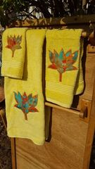 Yellow Lotus Three piece Towel Set