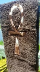 Brown Hand Towel With Beige Tye Dye Ankh