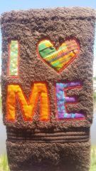 I LOVE ME - Brown hand towel with Multi Fabric