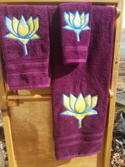 Purple Lotus Three piece Towel Set
