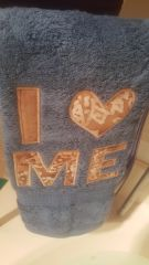 I LOVE ME Blue Hand Towel with Beige Batik